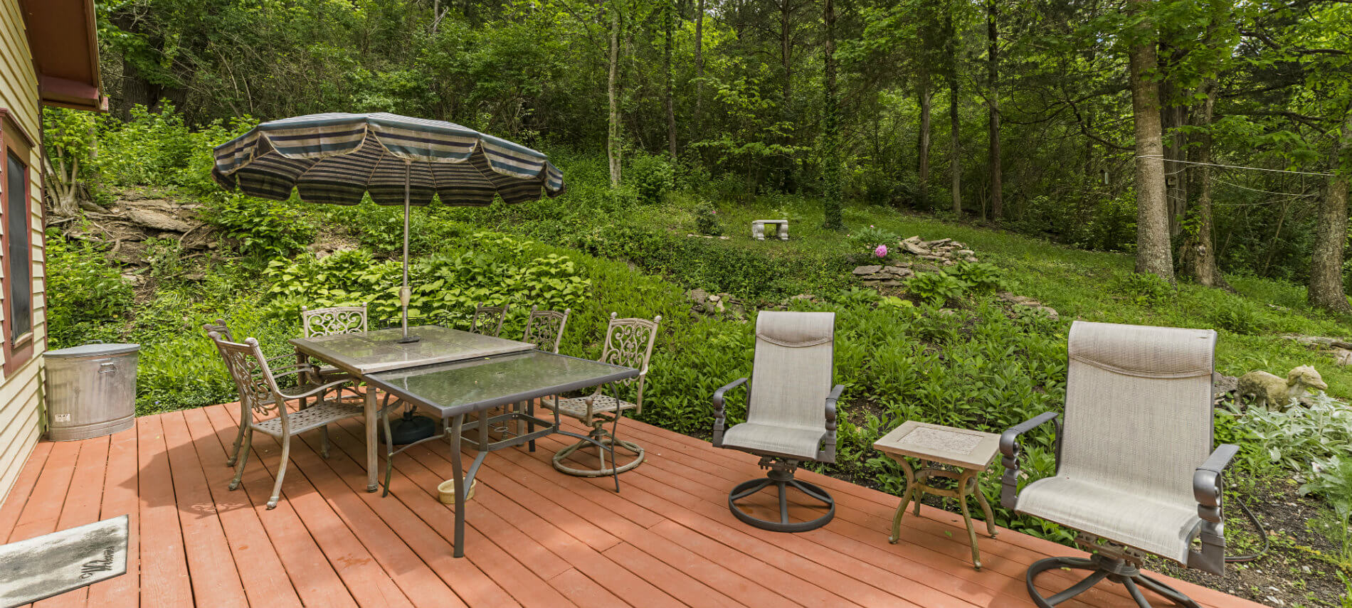 The red-stained deck is a wonderful place in the morning and evening with cool breezes coming out of the hillside.